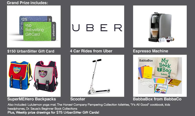 urbansitter giveaway prizes
