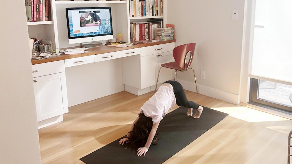 virtual babysitter doing yoga with child